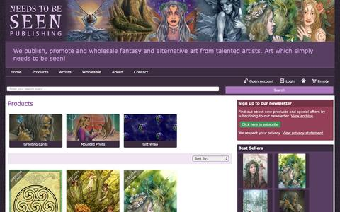 Screenshot of Products Page needstobeseen.com - Products > Home > Wholesale fairy cards, wholesale pagan / spiritual cards, wholesale fantasy cards - Needs to be Seen Publishing - captured Nov. 29, 2016