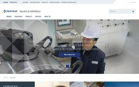 Screenshot of Services Page pentair.com - Pentair - Services - captured April 3, 2016