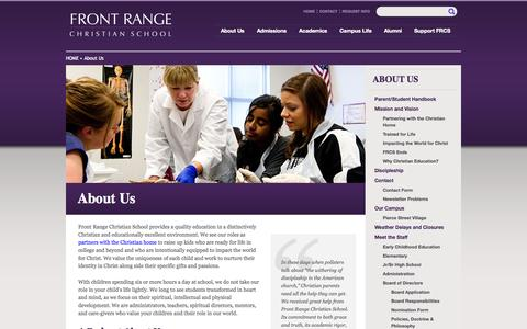 Screenshot of About Page frcs.org - About Us | Front Range Christian School - captured Oct. 6, 2014