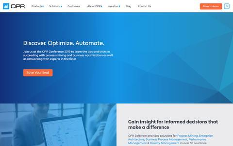 Screenshot of Home Page qpr.com - Dare to Improve | QPR Software - captured Aug. 15, 2019