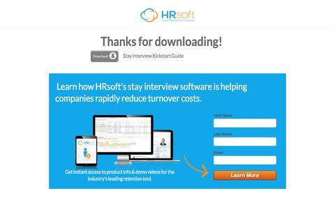 Screenshot of Landing Page hrsoft.com - Stay Interview Kickstart Guide - captured July 22, 2017