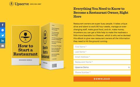 Screenshot of Landing Page upserve.com - How To Start A Restaurant Guide | Upserve - captured April 9, 2018