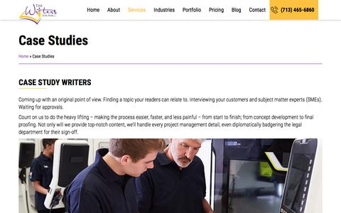 Screenshot of Case Studies Page thewritersforhire.com - Case Studies - The Writers For Hire - captured Oct. 10, 2019