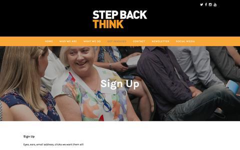 Screenshot of Signup Page stepbackthink.org - Sign Up – Step Back. THINK. - captured Feb. 16, 2016