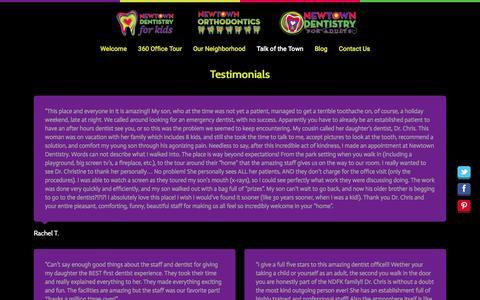 Screenshot of Testimonials Page 504kids.com - Newtown Dentistry for Kids     Testimonials - captured Feb. 14, 2016