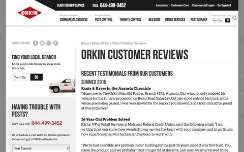Screenshot of orkin.com - Orkin Customer Reviews - Orkin - captured March 25, 2017