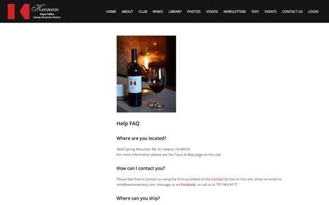 Screenshot of FAQ Page keenanwinery.com - The Absolute Help FAQs You Need from our Breathtaking Winery - captured June 23, 2019