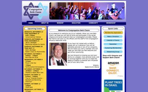 Screenshot of Home Page bethchaim.org - Congregation Beth Chaim - captured Oct. 3, 2014
