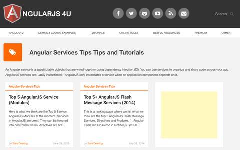 Screenshot of Services Page angularjs4u.com - Angular Services Tips   AngularJS 4U - captured Sept. 23, 2018