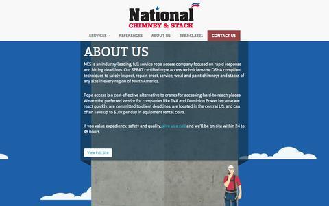 Screenshot of About Page nationalchimneystack.com - About Us | National Chimney & Stack - captured Oct. 27, 2014