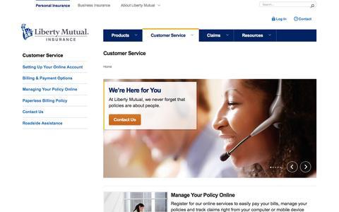 Screenshot of Support Page libertymutual.com - Customer Service Center | Liberty Mutual - captured Dec. 12, 2015