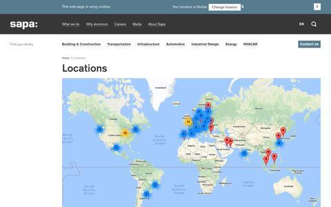 Screenshot of Locations Page sapagroup.com - Locations - Sapa Group - captured Sept. 29, 2017