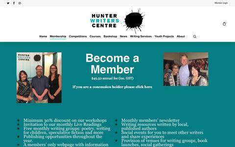 Screenshot of Signup Page hunterwriterscentre.org - Join – Hunter Writers Centre - captured April 17, 2018
