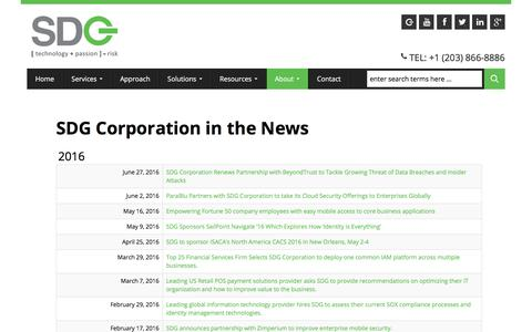 Screenshot of Press Page sdgc.com - SDG News   News about Risk Mitigation in the Enterprise - captured July 5, 2017