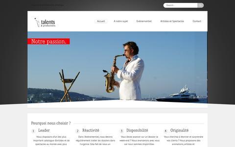 Screenshot of Home Page agences-evenementiel.com - Agence événementielle | Agence d'événements | Agence artistique | Événementiel - captured Oct. 13, 2015