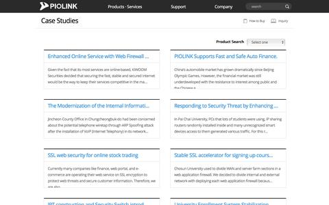 Screenshot of Case Studies Page piolink.com - PIOLINK - Case Studies - captured July 10, 2016
