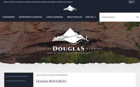 Screenshot of Jobs Page cityofdouglas.org - Human Resources | Douglas, WY - Official Website - captured Oct. 22, 2018