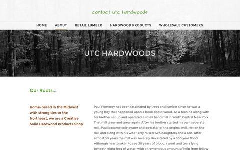 Screenshot of About Page utchardwoods.com - About - contact utc hardwoods - captured Dec. 20, 2015