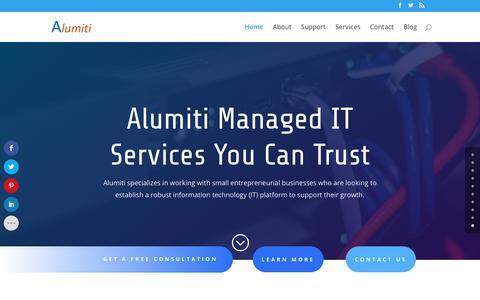 Screenshot of Home Page alumiti.com - Home - % - captured July 29, 2018