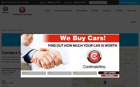 Screenshot of Contact Page Maps & Directions Page cardinalewayvw.com - Contact CardinaleWay Volkswagen in Corona California - captured Feb. 18, 2018