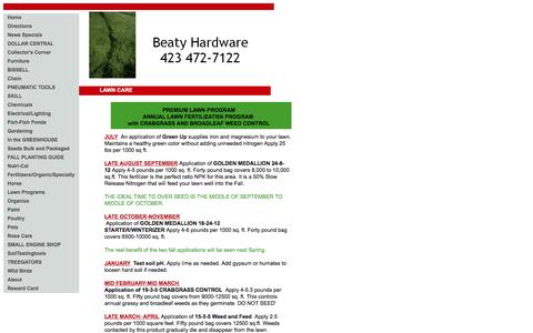 Screenshot of Menu Page beatyhardware.net - LAWN CARE - captured Dec. 31, 2015