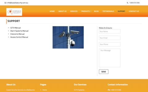 Screenshot of Support Page casalssecurity.com.au - Support   Casals Security - captured July 17, 2017