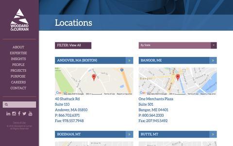 Screenshot of Locations Page woodardcurran.com - Locations - captured Aug. 14, 2016