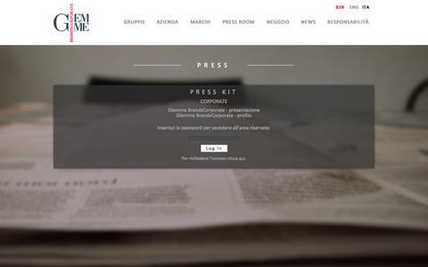 Screenshot of Press Page giemmebrandscorporate.it - Press | Giemme - captured Oct. 2, 2014