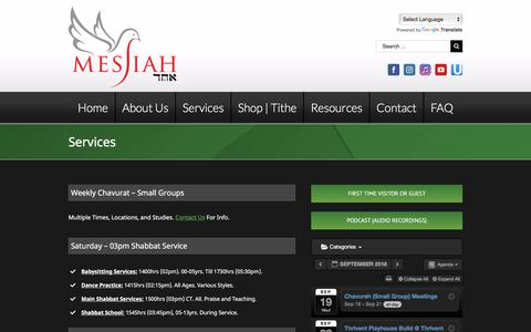 Screenshot of Services Page messiahechad.org - Messiah Echad   Order of Service, Messianic Haggadah, Shabbat, Reviews   Messiah Echad - captured Sept. 20, 2018