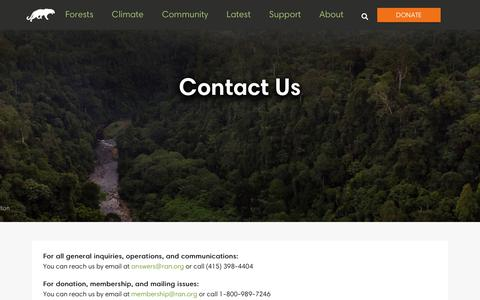 Screenshot of Contact Page ran.org - Contact Us - Rainforest Action Network - captured Aug. 3, 2018