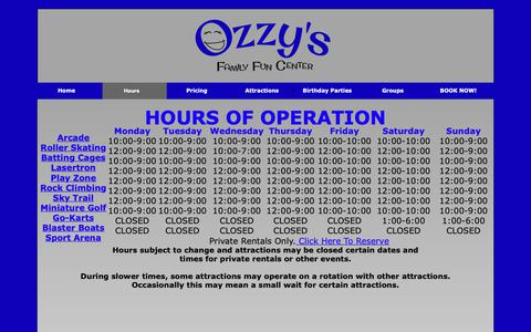 Screenshot of Hours Page ozzysffc.com - Hours - captured Oct. 18, 2018