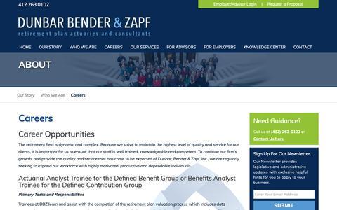 Screenshot of Jobs Page dbzinc.com - Careers  | Dunbar, Bender, and Zapf - captured Oct. 9, 2018
