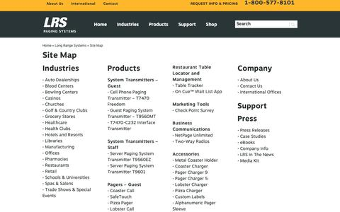 Screenshot of Site Map Page pager.net - Long Range Systems Site Map | Pager.net - captured Sept. 25, 2018