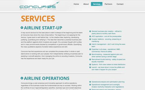 Screenshot of Services Page concuros.com - Airline Start-up - captured Sept. 30, 2014