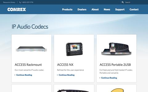 Screenshot of Products Page comrex.com - Products - Comrex - captured Sept. 22, 2018