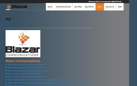 Screenshot of FAQ Page blazarcomm.com - FAQ & Resources - captured Feb. 7, 2016