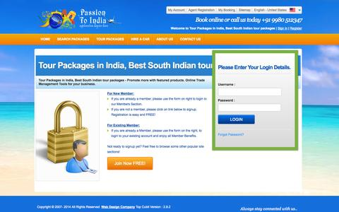 Screenshot of Login Page passiontoindia.com - Frontend-Login - captured Oct. 28, 2014