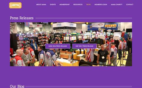 Screenshot of Press Page coin-op.org - NEWS – AAMA – American Amusement Machine Association - captured Oct. 8, 2017