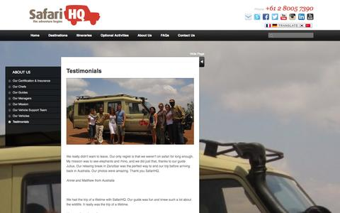 Screenshot of Testimonials Page safarihq.com - Experience Africa with Safari HQ Testimonials - captured Oct. 4, 2014