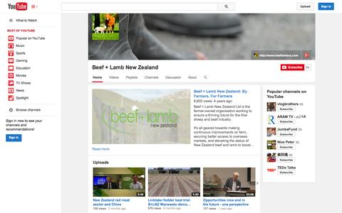 Screenshot of YouTube Page youtube.com - Beef + Lamb New Zealand  - YouTube - captured Oct. 25, 2014
