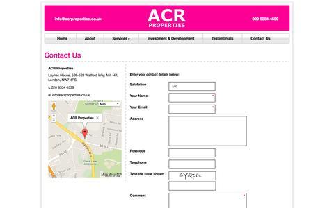 Screenshot of Contact Page acrproperties.co.uk - Contact Us   ACR Properties - captured Oct. 4, 2014