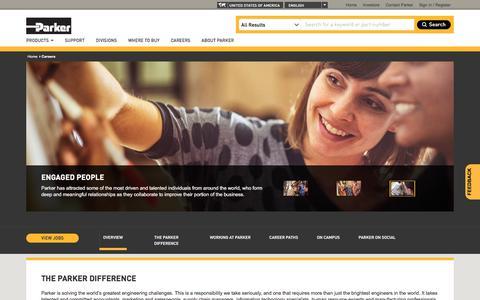 Screenshot of Jobs Page parker.com - Employment, Training, Internships, Development | Parker Careers - captured July 18, 2018