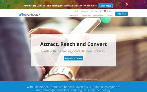 Screenshot of Home Page siteminder.com - World class hotel distribution technology solutions by SiteMinder - captured Nov. 3, 2015