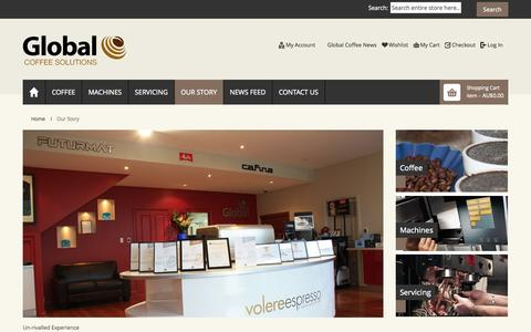 Screenshot of About Page globalcoffee.com.au - Global Coffee Solutions Our Story - captured Oct. 2, 2014