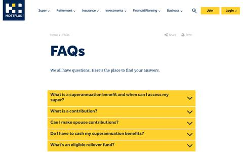 Screenshot of FAQ Page hostplus.com.au - Hostplus - Frequently Asked Questions By our Members - captured Jan. 18, 2017