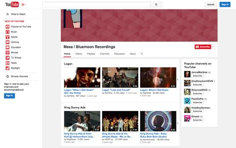 Screenshot of YouTube Page youtube.com - Mesa / Bluemoon Recordings  - YouTube - captured Oct. 27, 2014