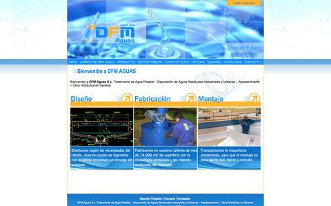 Screenshot of Home Page dfmaguas.com - DFM AGUAS S.L. - equipos para tratamiento de aguas, construcción y depuración - captured Sept. 30, 2014
