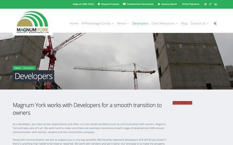 Screenshot of Developers Page magnumyork.com - Developers - Magnum York Property Management Ltd. - captured Oct. 2, 2018