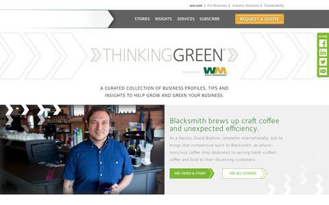 Screenshot of Blog wm.com - Green business profiles, tips and insights | WM Thinking Green - captured Aug. 6, 2016