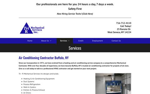 Screenshot of Services Page trirmechanical.com - Heating and Cooling Buffalo, NY | Air Conditioning Repair - captured Oct. 20, 2018